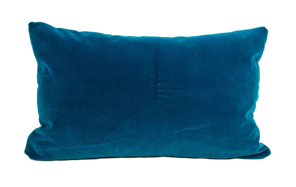 """Kreatelier Rectangular Pillow 15""""x22"""" Multicolor Ocean, blue velvet back"""
