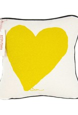 """Erin Flett Pillow Heart 10"""" Golden Rod W/ Black Piping"""