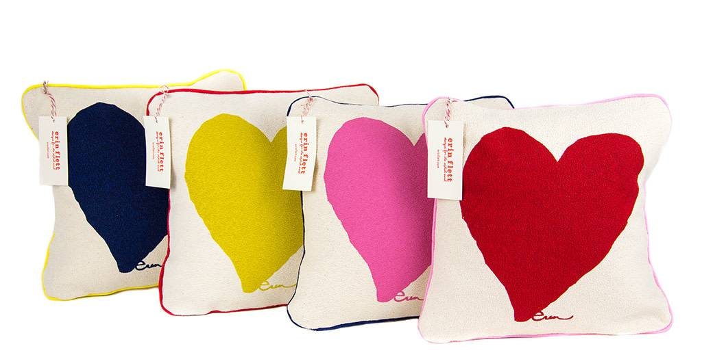 """Erin Flett Pillow Heart 10"""" Red W/ Dark Blue Piping"""