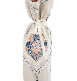 Kreatelier Bottle Gift Bag Peach Blue Indian