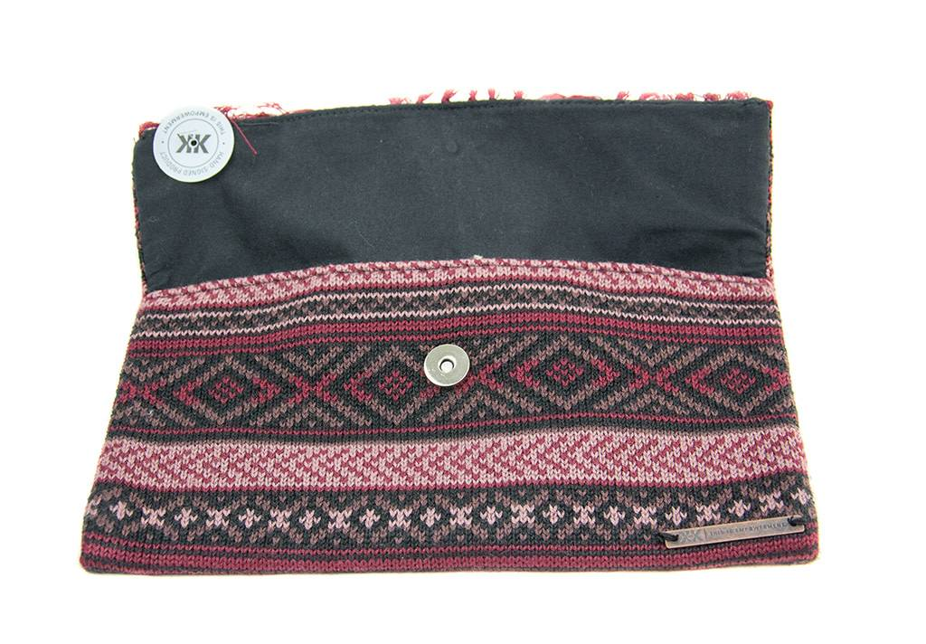 Krochet Kids Knit Clutch with Fringe Wine