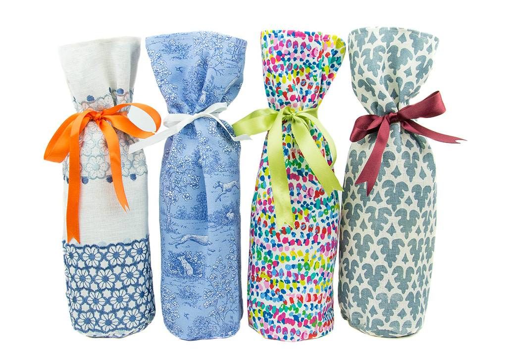 Kreatelier Bottle Gift Bag Blue Block Print