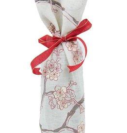 Kreatelier Bottle Gift Bag Embroidered Flowers Cream