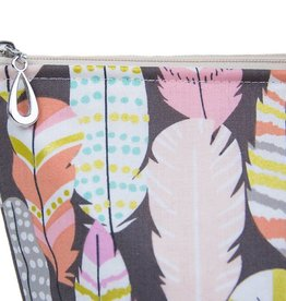 Dana Herbert Accessorries Cosmetic Bag Metallic Feather Large