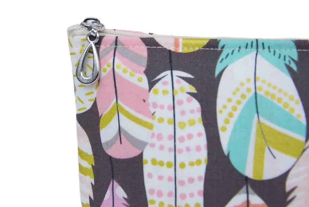 Dana Herbert Accessorries Cosmetic Bag Metallic Feather Medium
