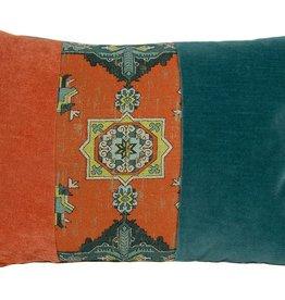 """Kreatelier Rectangular Pillow 15""""x22"""" Orange & Blue Moroccan & Velvet/Blue Velvet Back"""