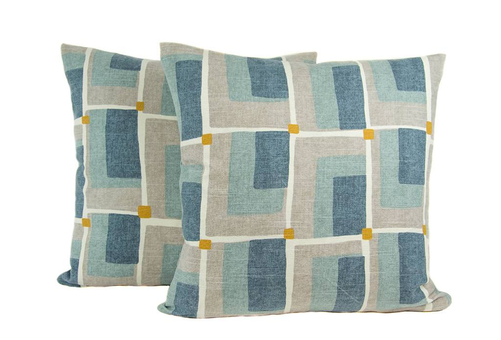 """Kreatelier Square Pillow 18""""x18"""" Blue and Grey Geometric"""
