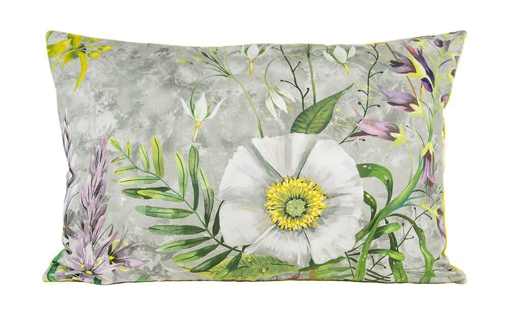 """Kreatelier Rectangular Pillow 15""""x22"""" Multicolor Floral, Chartreuse Velvet Back"""