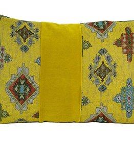 """Kreatelier Rectangular Pillow 15""""x22"""" Dijon Moroccan & Velvet/Blue Velvet Back"""