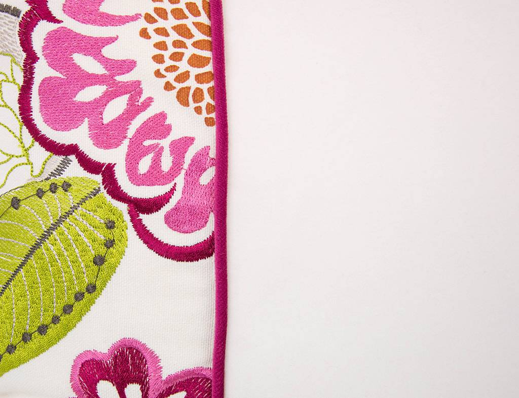 """Kreatelier Square Pillow 18""""x18"""" Embroidered Flowers, Raspberry Velvet Back"""
