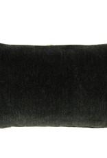 """Kreatelier Rectangular Pillow 11""""x21"""" Black/Multi Velvet, Black Velvet Back"""