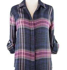 Side Stitch Button Down Plaid Charcoal