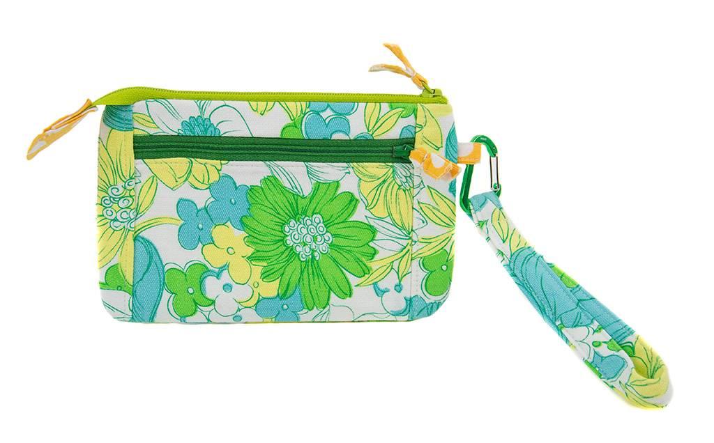 Cotton Wristlet Green Flower