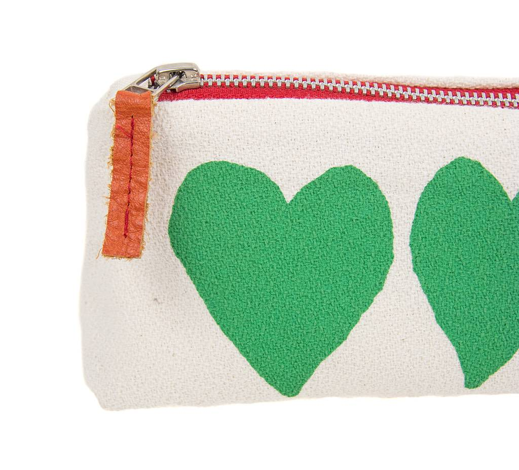 Erin Flett Zip Pouch Hearts Green