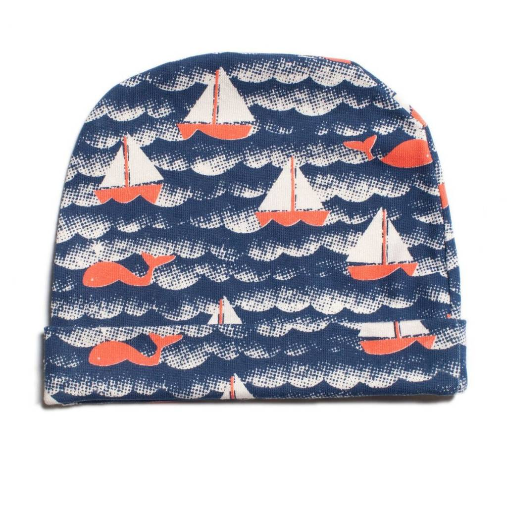 Winter Water Factory Baby Hat Sailboats Navy & Orange