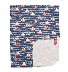 Winter Water Factory Lightweight Blanket Sailboats Navy & Orange