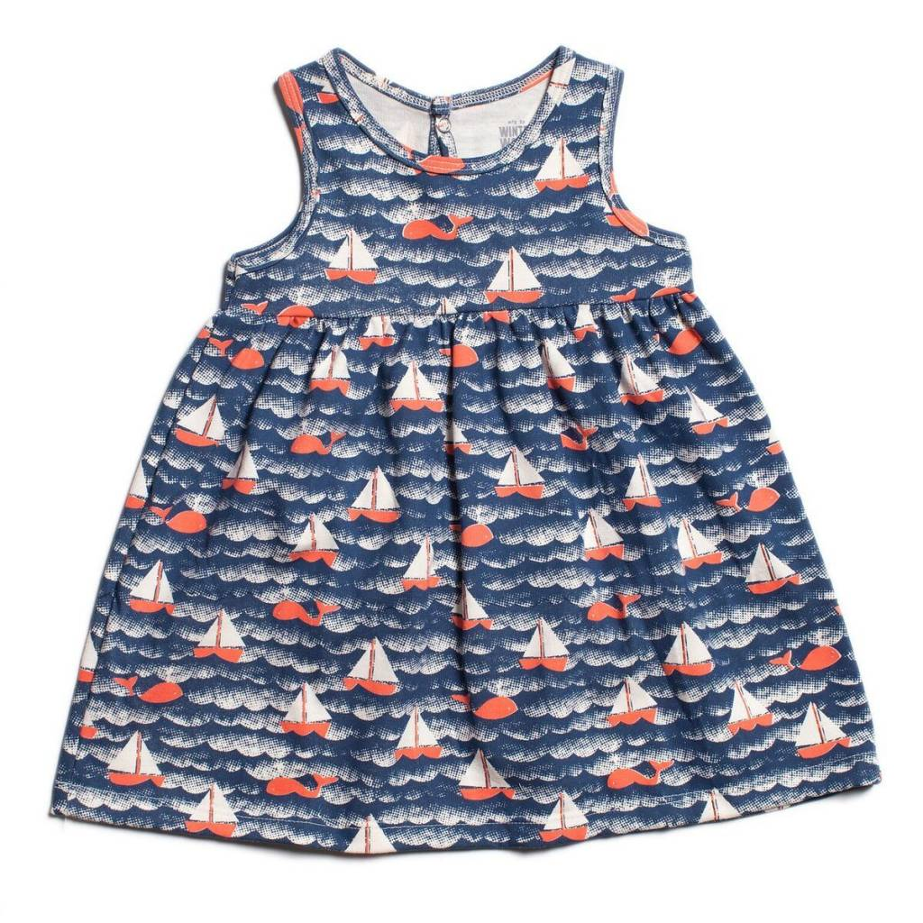 Winter Water Factory Oslo Baby Dress Sailboats Navy & Orange