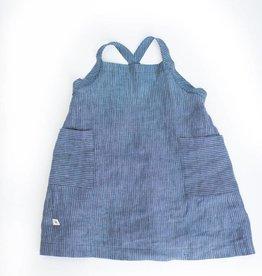 Chaboukie Apron Dress in Pin Stripe Indigo