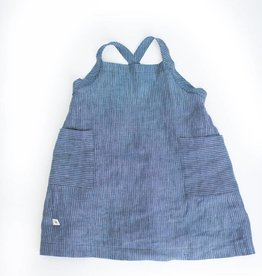 Chaboukie Apron Dress Indigo Pin Stripe