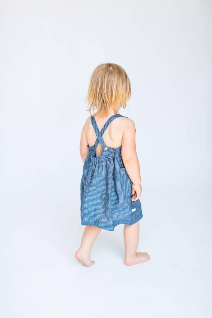 Chaboukie Apron Dress Indigo Pin Stripe