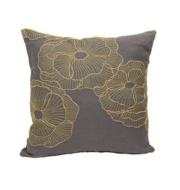 "Kreatelier Square Pillow 16""x16"" Brown/Gold Flower"