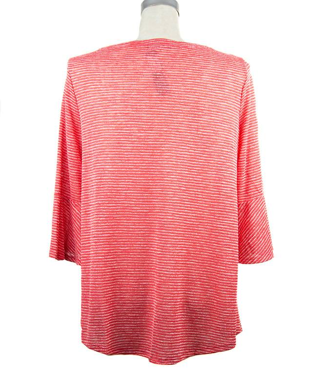 Nally and Millie Stripe Ruffle Tunic in Poppy Red