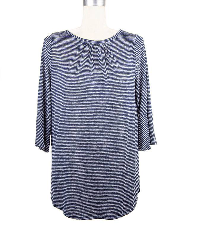 Nally and Millie Stripe Ruffle Tunic in Dark Denim