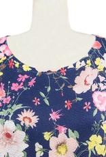 Nally and Millie Dolman Tunic in Dark Denim Floral
