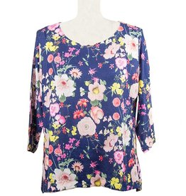 Nally and Millie Dolman Tunic in Dark Denim Floral