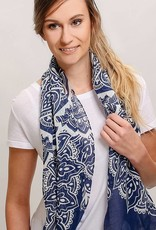 Fraas Moroccan Scroll Scarf in Navy