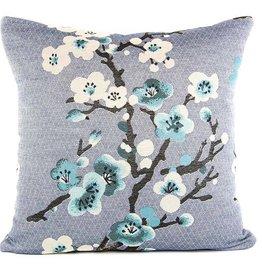 Kreatelier Sakura Pillow in Blue - 18 x 18in