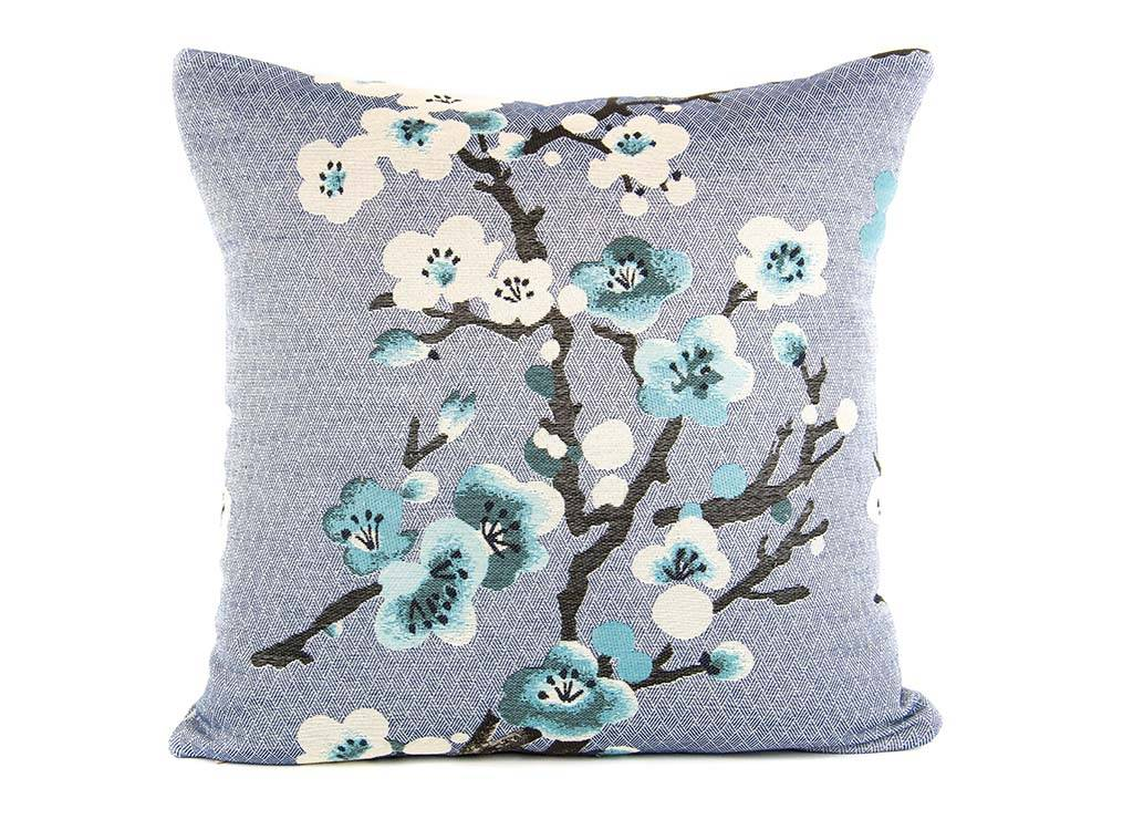 Kreatelier Sakura Pillow in Blue - 18 x 18in