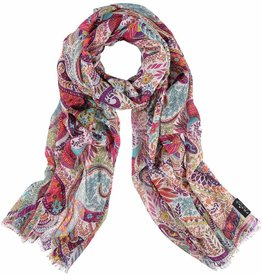 Fraas Summer Paisley Scarf in Rose