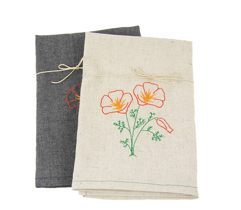 ... Eko Kreations Poppy Kitchen Towels In Cream ...