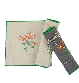 Eko Kreations Wildflowers of the Sierras Cocktail Napkin Set in Cream