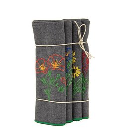 Eko Kreations Wildflowers of the Sierras Dinner Napkin Set in Grey