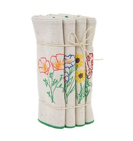 Eko Kreations Wildflowers of the Sierras Dinner Napkin Set in Cream