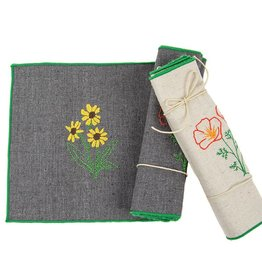 Eko Kreations Wildflowers of the Sierras Cocktail Napkin Set in Grey