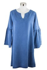 Side Stitch Banded Bell Sleeve Dress Mineral Blue