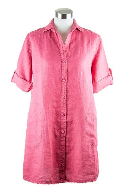 Side Stitch Fray Hem A-Line Dress Raspberry Blush