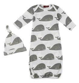 Milkbarn Newborn Gown & Hat Set in Grey Whale