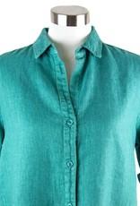 Side Stitch Fray Hem A-Line Dress Tile Green
