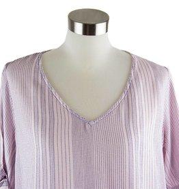 Side Stitch Short Sleeve Tie V-Neck Tee Peach Glow