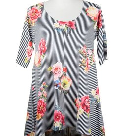 Nally and Millie Printed Floral Stripe Elbow Slv Tunic Multicolor