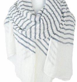Paisley Road Knit Stripe Scarf White Gray