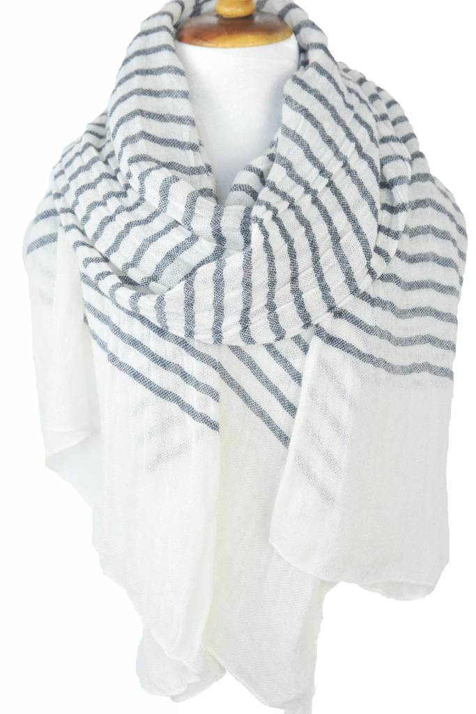 Paisley Road Knit Stripe Scarf White Gray