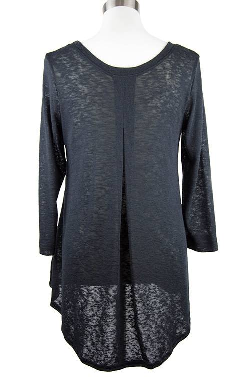 Nally and Millie Recut Pleated Back Sheer Texture 3/4 Slv Tunic Black