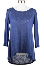 Nally and Millie Recut Pleated Back Sheer Texture 3/4 Slv Tunic Navy