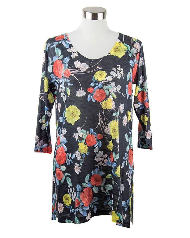Nally and Millie Tunic Black Floral Print