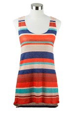 Nally and Millie Tank Red Navy Stripe